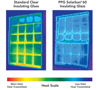 Thermography of window comparing standard clear insulating glass vs. Solarban® 60 insulating glass
